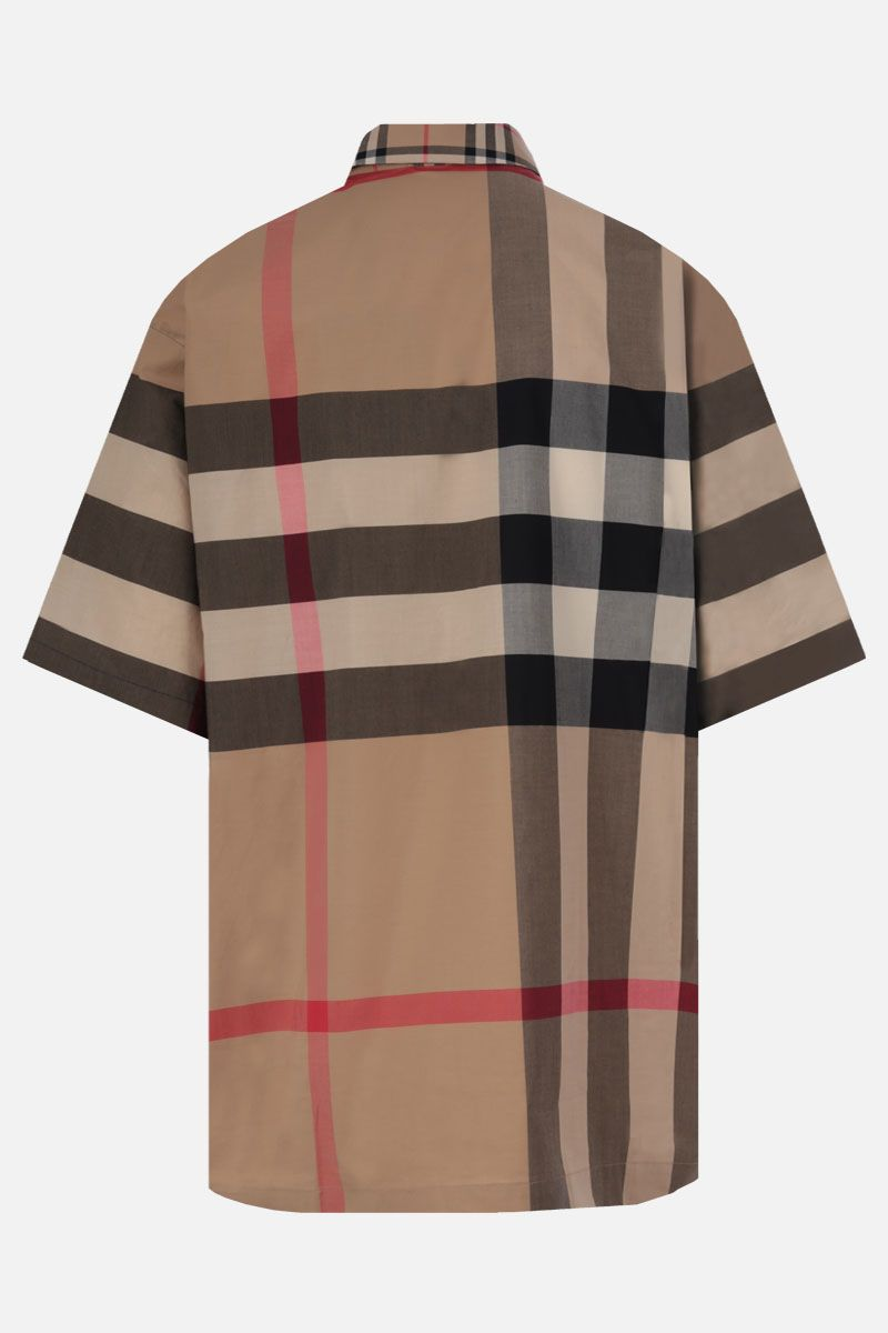 BURBERRY: camicia a maniche corte Durham in cotone stretch Colore Marrone_2
