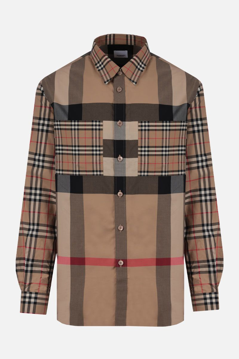 BURBERRY: Tisford stretch cotton oversize shirt Color Brown_1
