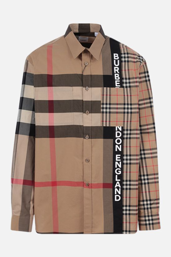 BURBERRY: camicia oversize Talby in cotone stretch Colore Marrone_1
