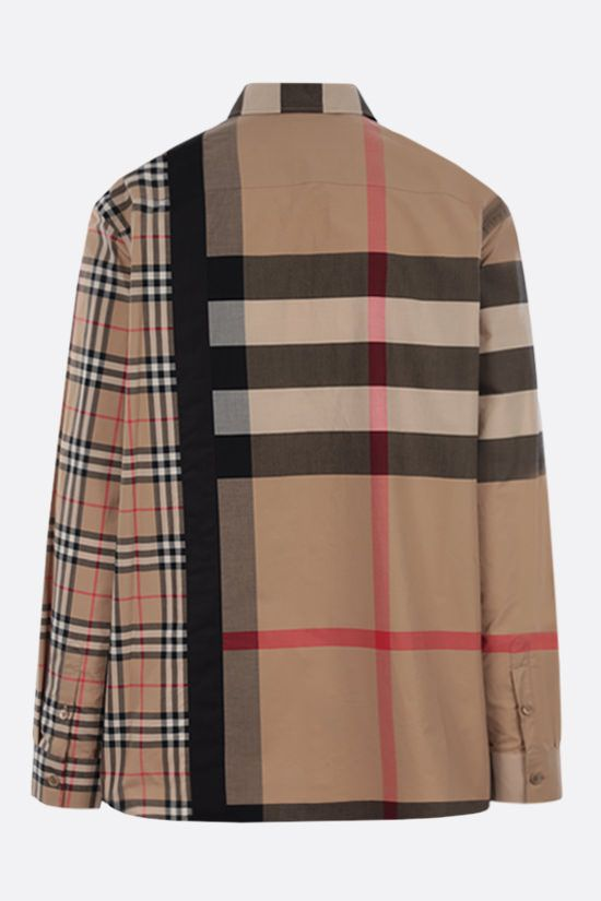 BURBERRY: camicia oversize Talby in cotone stretch Colore Marrone_2