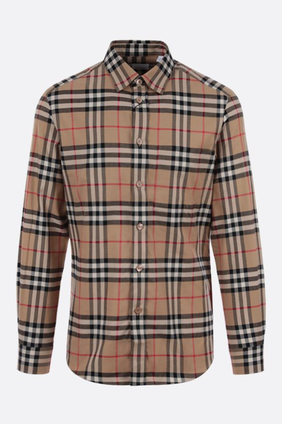 BURBERRY: camicia Carver in cotone Vintage check Colore Marrone_1