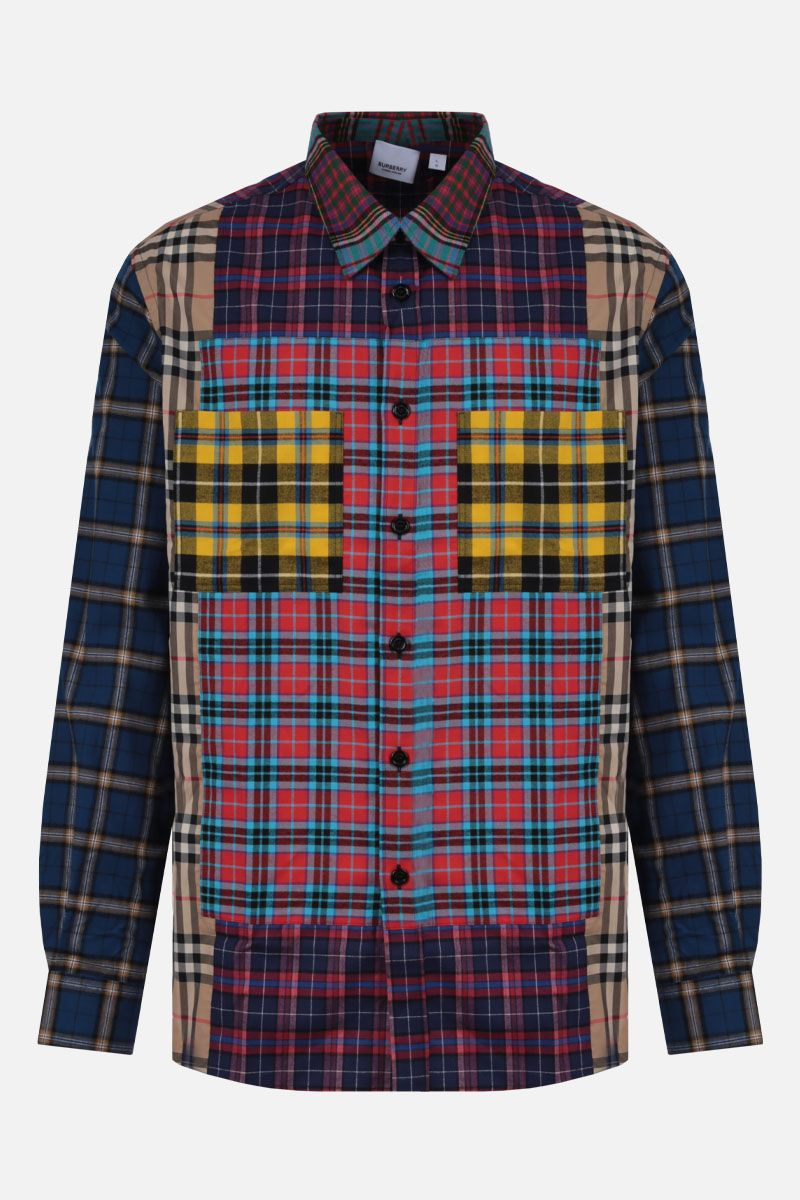 BURBERRY: tindall pw m/l patchwork check con tasche applicate Colore Multicolore_1
