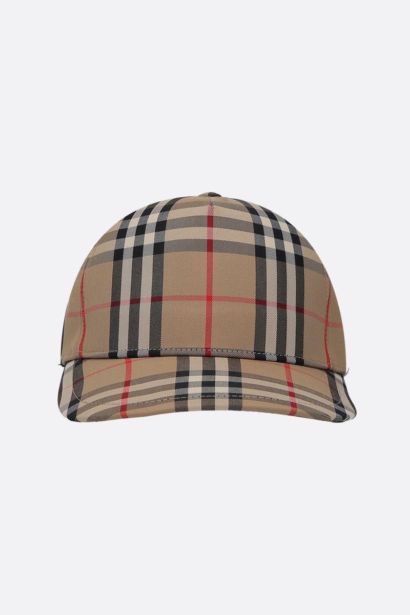 BURBERRY: cappellino baseball in twill Vintage check Colore Marrone_1