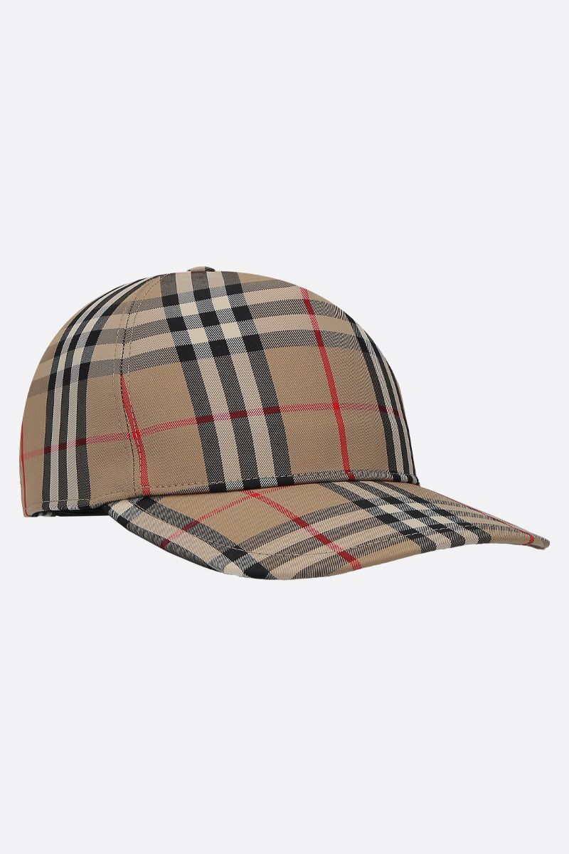 BURBERRY: cappellino baseball in twill Vintage check Colore Marrone_2
