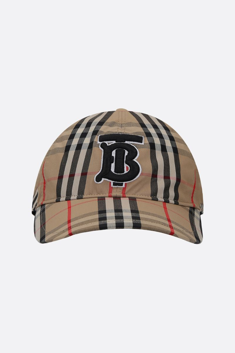 BURBERRY: cappellino baseball in cotone Vintage check ricamo TB Colore Marrone_1