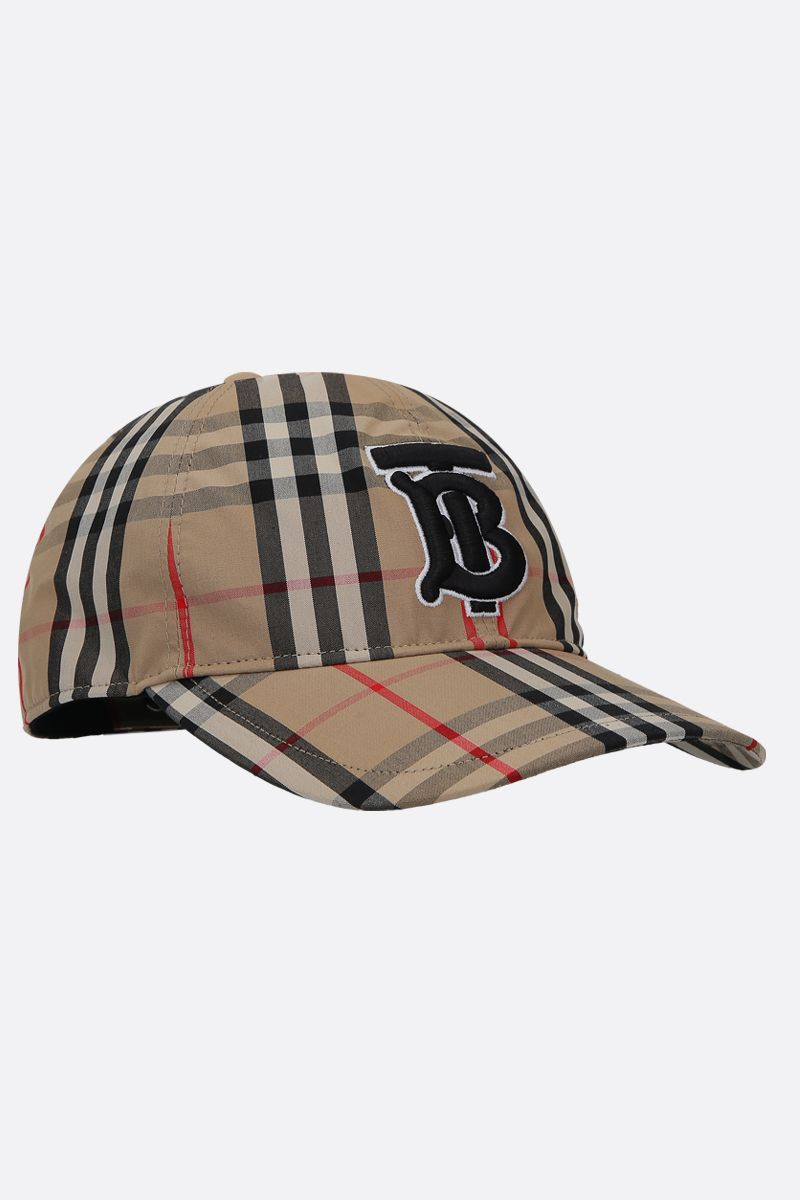BURBERRY: cappellino baseball in cotone Vintage check ricamo TB Colore Marrone_2