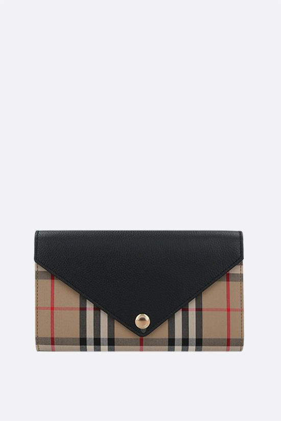 BURBERRY: Hannah canvas and leather shoulder strap wallet Color Black_1