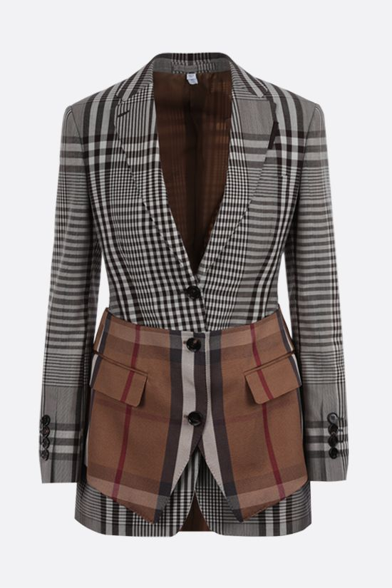 BURBERRY: single-breasted check technical wool jacket Color Brown_1