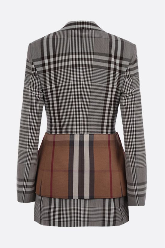 BURBERRY: single-breasted check technical wool jacket Color Brown_2