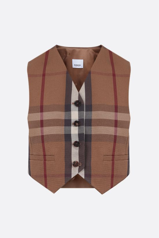 BURBERRY: gilet cropped in cotone tecnico a motivo tartan Colore Marrone_1