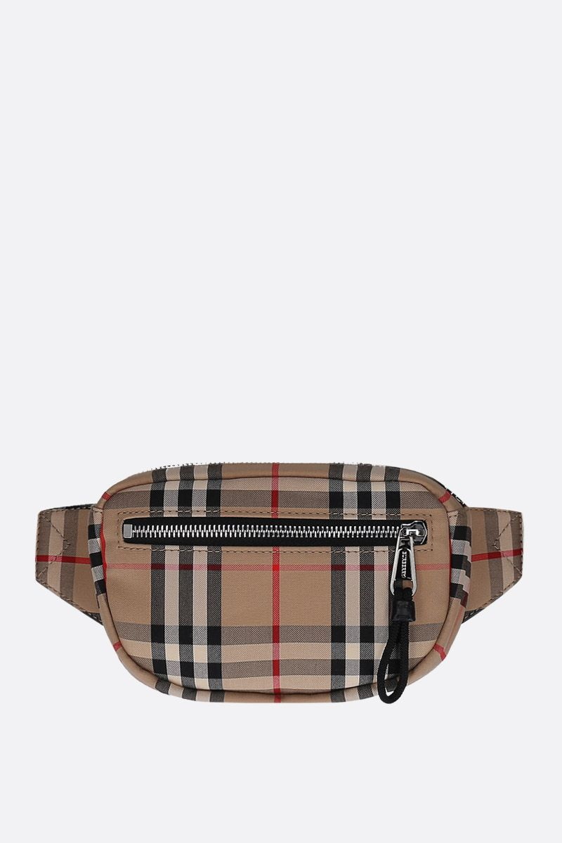 BURBERRY: Cannon Vintage check nylon belt bag Color Brown_1