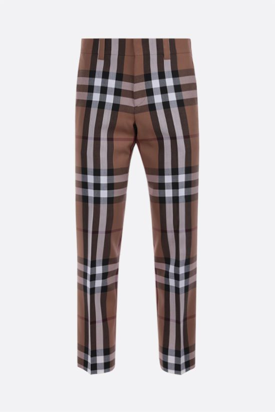 BURBERRY: House check wool pants Color Brown_1