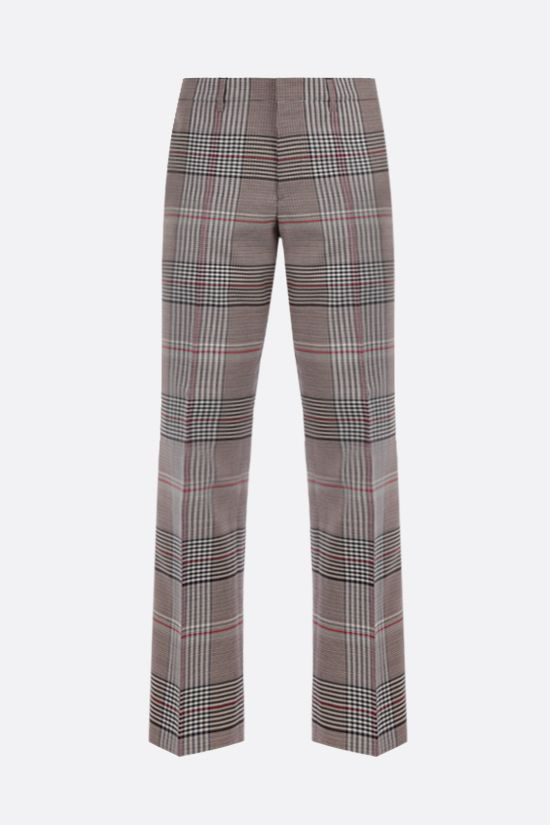 BURBERRY: straight-fit check wool pants Color Neutral_1