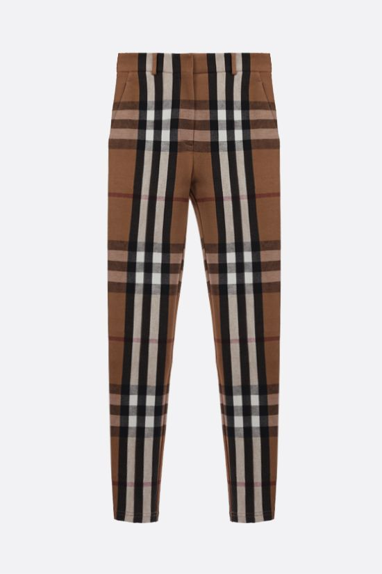 BURBERRY: check stretch jersey skinny pants Color Brown_1