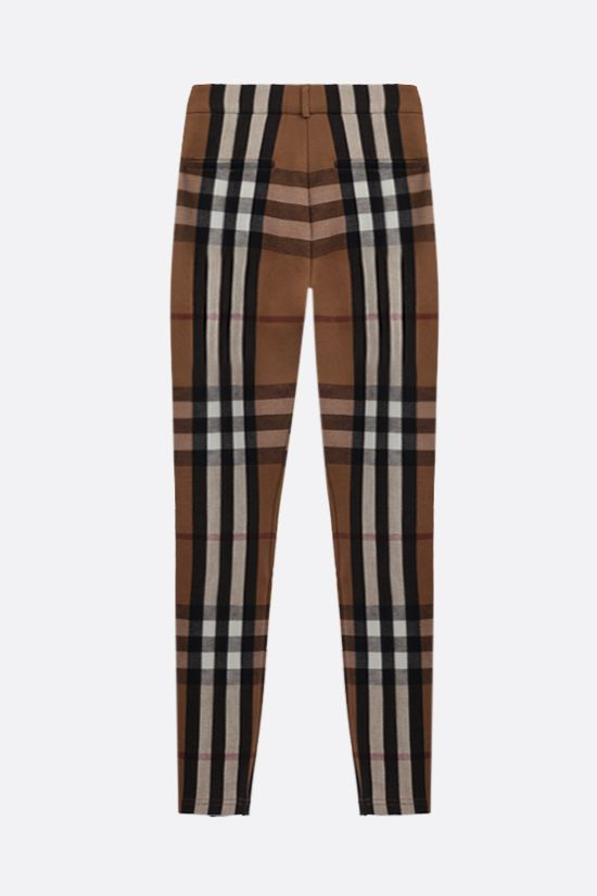 BURBERRY: check stretch jersey skinny pants Color Brown_2