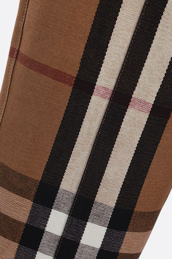 BURBERRY: check stretch jersey skinny pants Color Brown_3