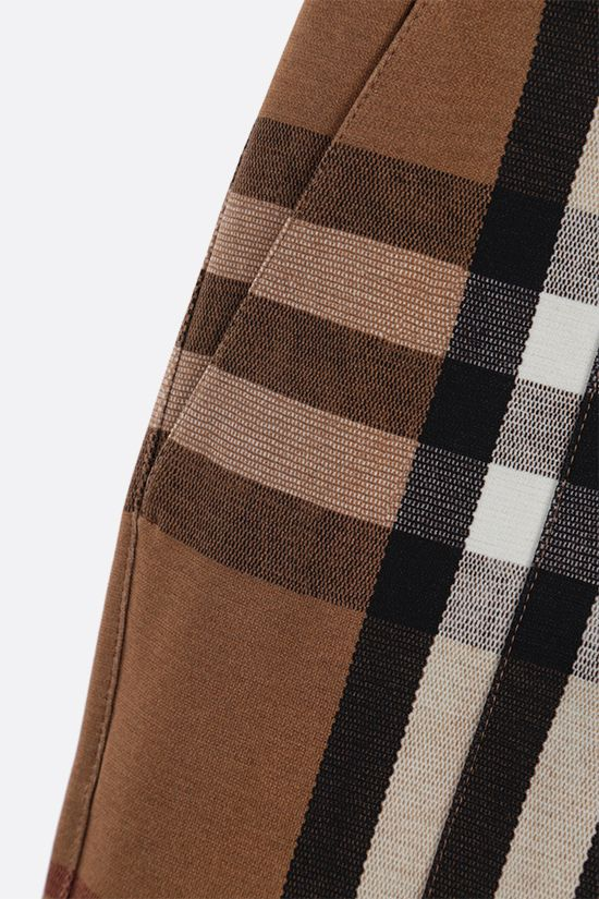 BURBERRY: check stretch jersey skinny pants Color Brown_4