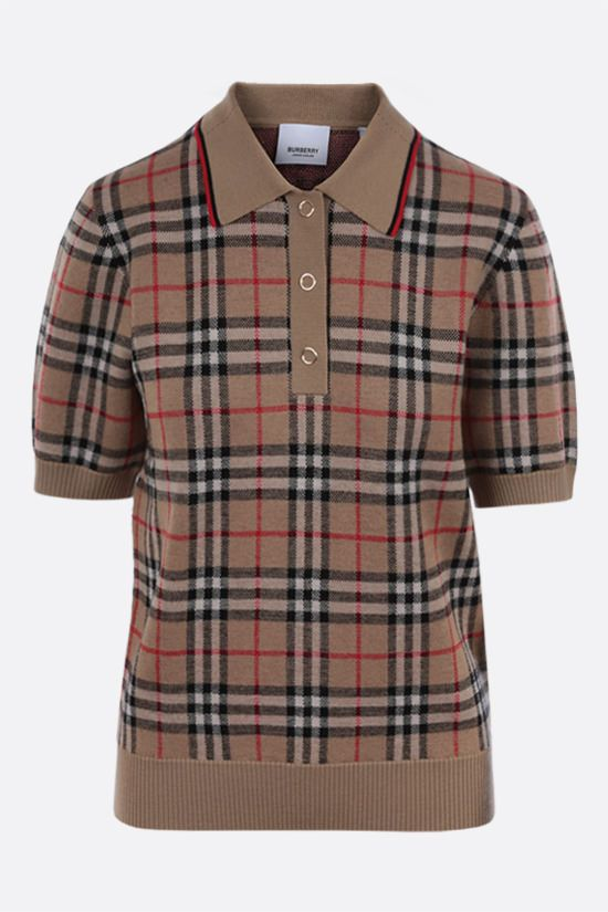 BURBERRY: Chatterton Vintage check wool polo shirt Color Brown_1