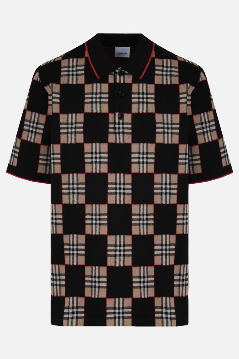 BURBERRY: polo Blakeford in misto merino Colore Marrone_1