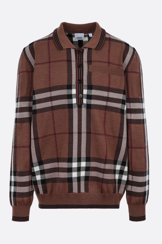 BURBERRY: check wool pullover Color Brown_1