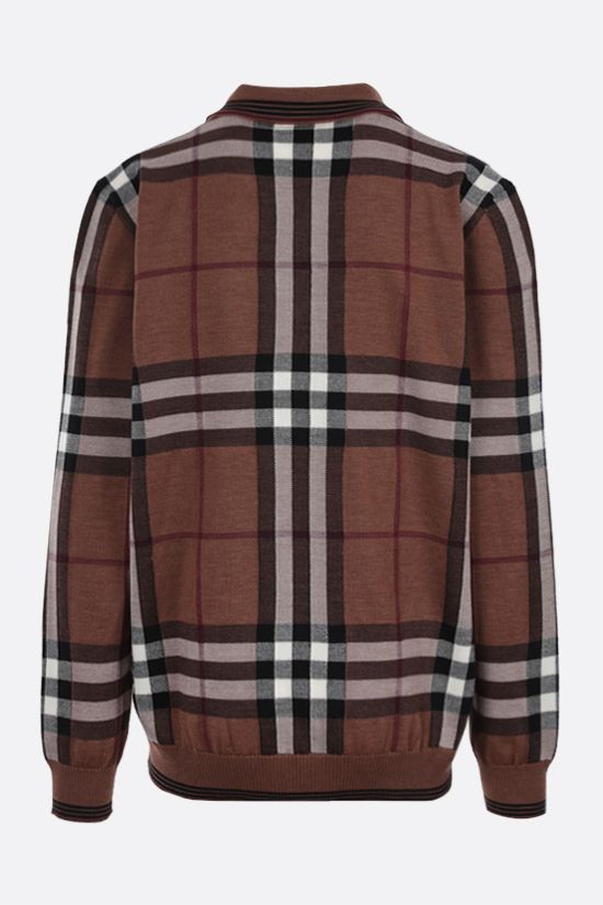 BURBERRY: check wool pullover Color Brown_2