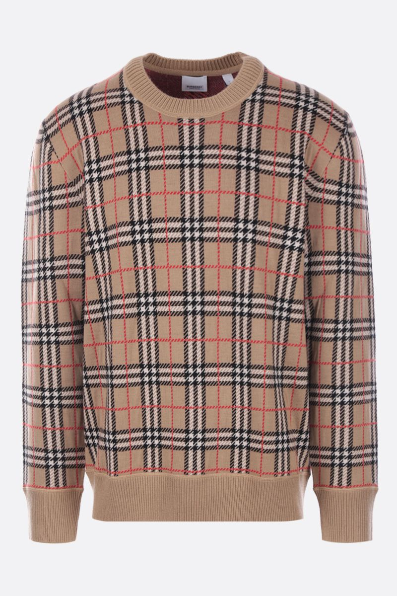 BURBERRY: pullover Fletcher in lana Colore Marrone_1