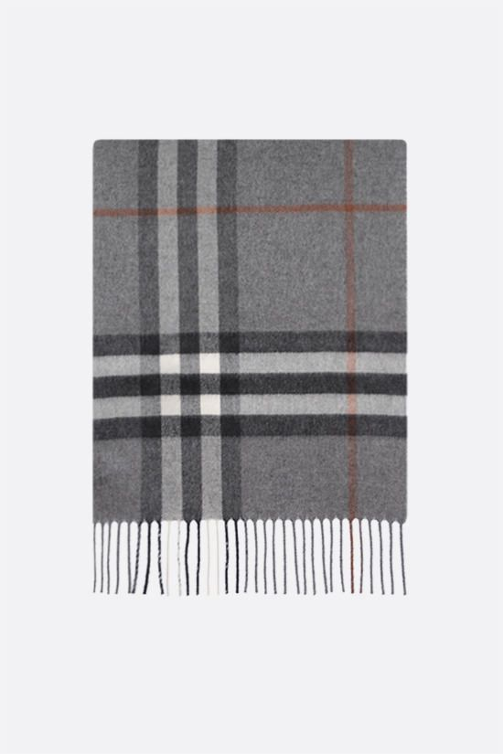 BURBERRY: Giant check-motif cashmere scarf Color Grey_1