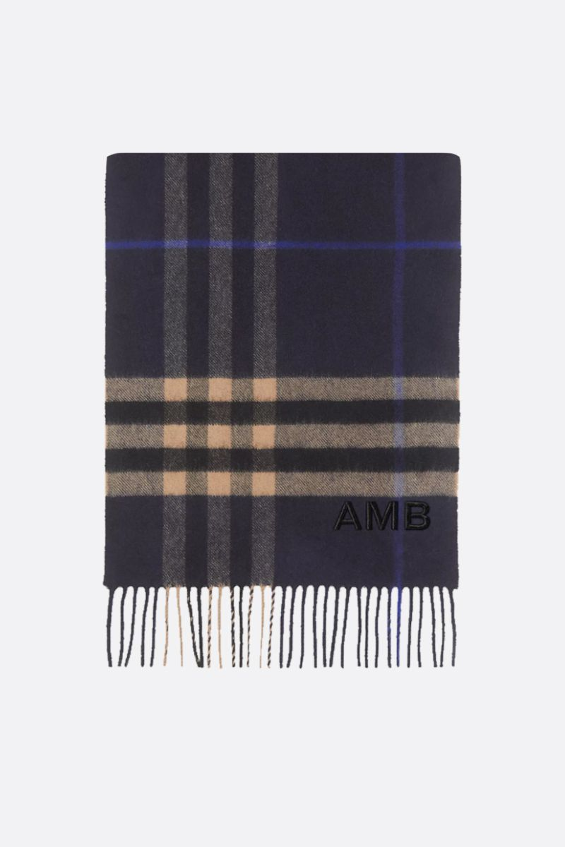 BURBERRY: Giant check-motif cashmere scarf Color Blue_1
