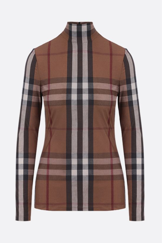 BURBERRY: dolcevita in jersey stretch a stampa tartan Colore Multicolore_1