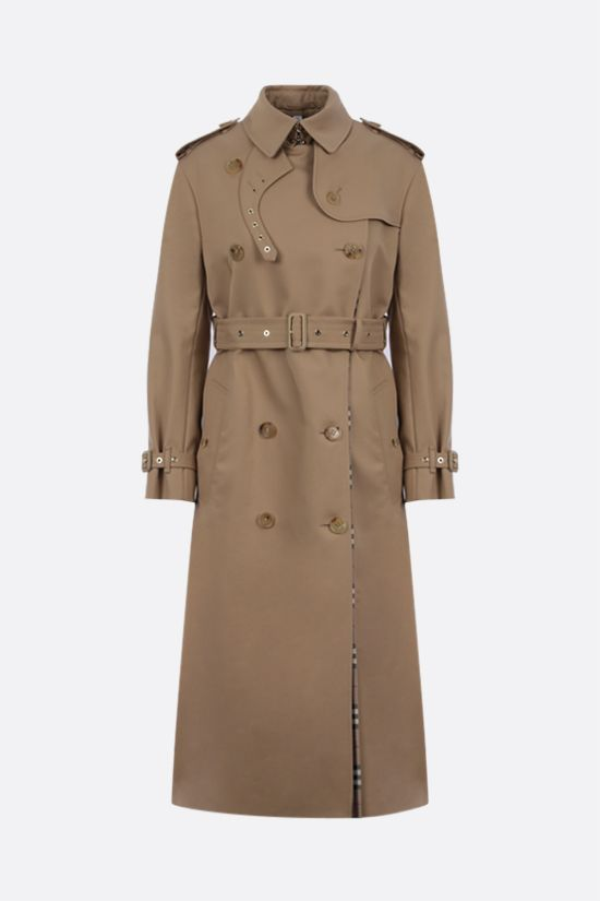 BURBERRY: contrast panel double-breasted cotton trench coat Color Neutral_1