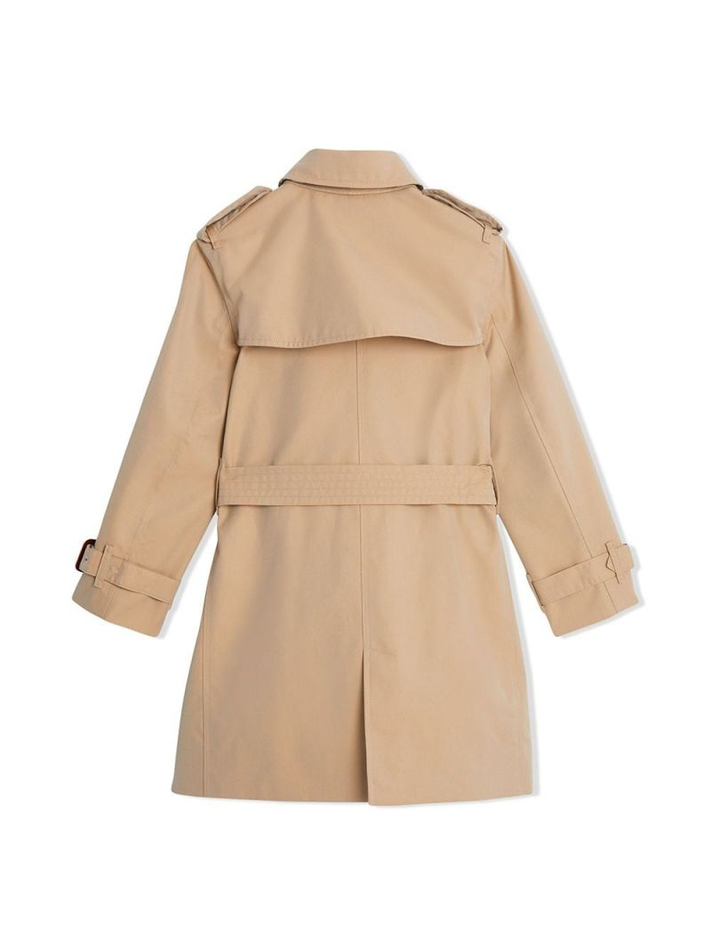 BURBERRY CHILDREN: gabardine double-breasted trench coat Color Yellow_2