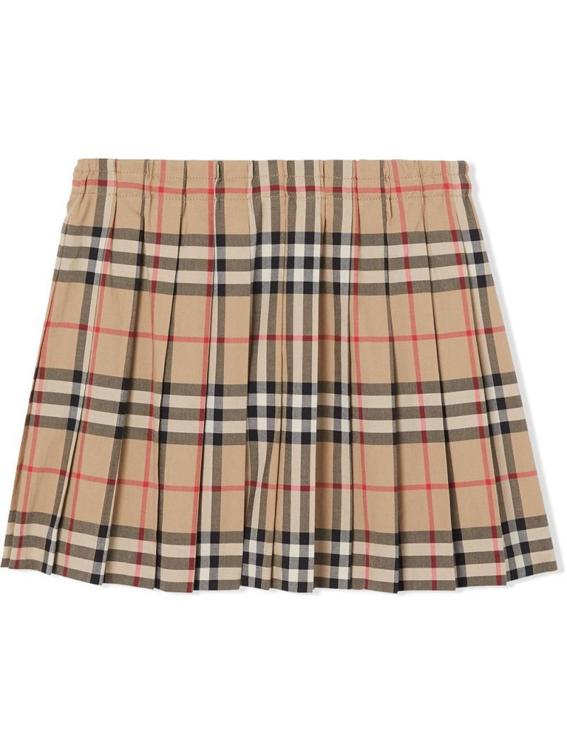 BURBERRY CHILDREN: Vintage check cotton pleated skirt Color Neutral_2