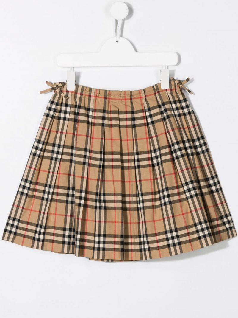 BURBERRY CHILDREN: Vintage check cotton pleated skirt Color Brown_2