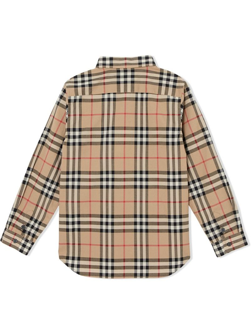 BURBERRY CHILDREN: camicia in cotone Vintage check Colore Marrone_2