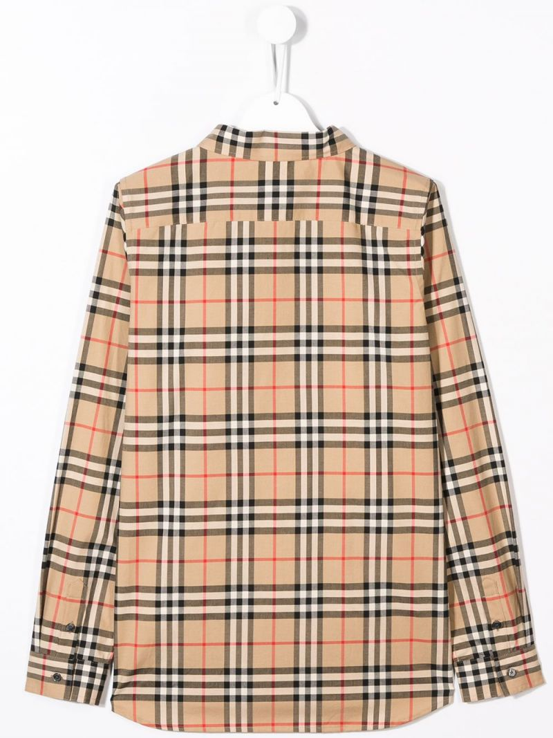 BURBERRY CHILDREN: Vintage check cotton shirt Color Brown_2