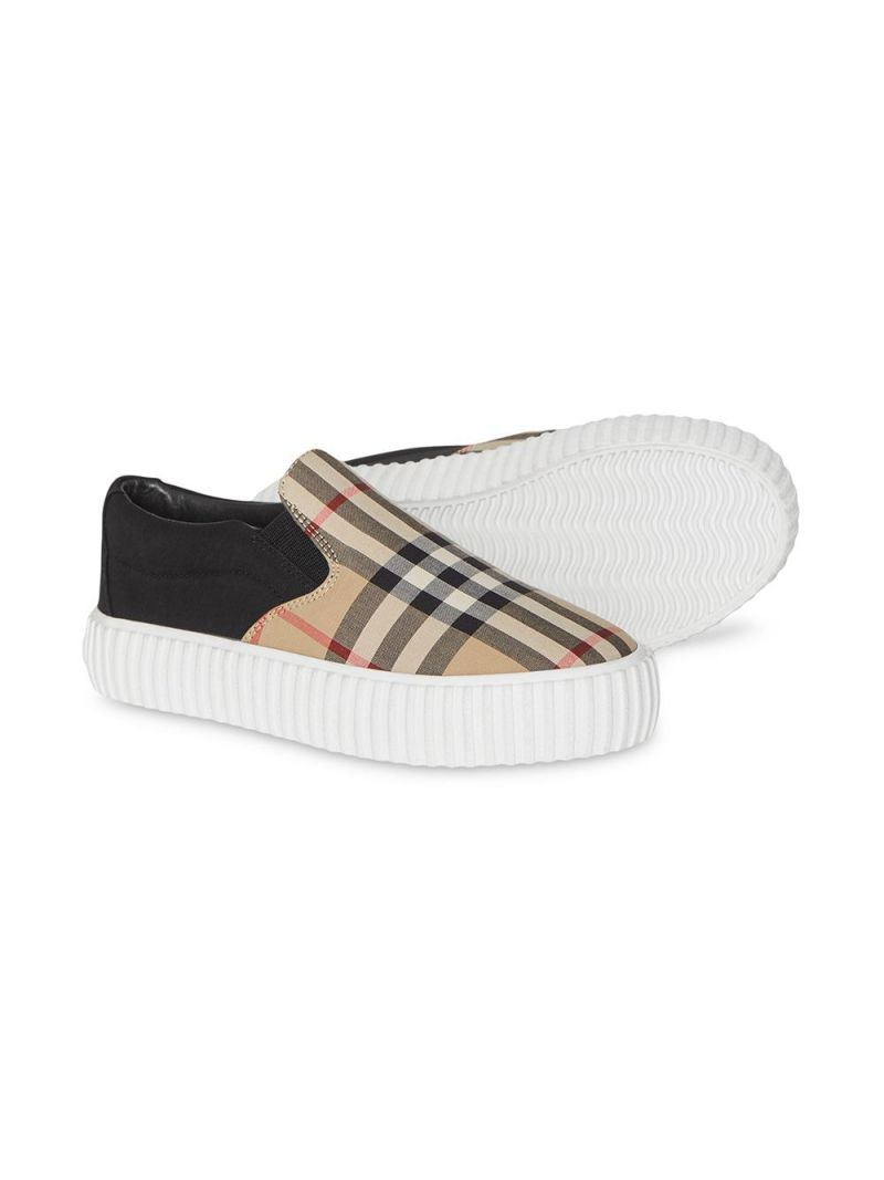 BURBERRY CHILDREN: Vintage check canvas slip-on sneakers Color Black_2