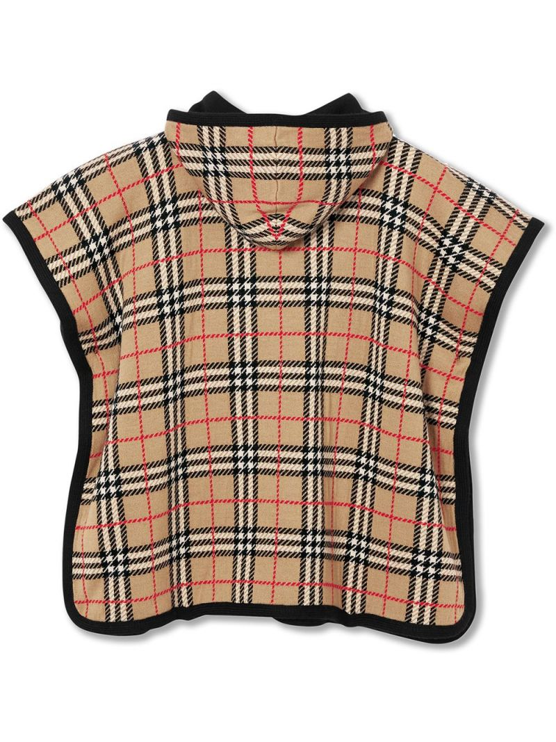 BURBERRY CHILDREN: Vintage check wool hooded poncho Color Neutral_2