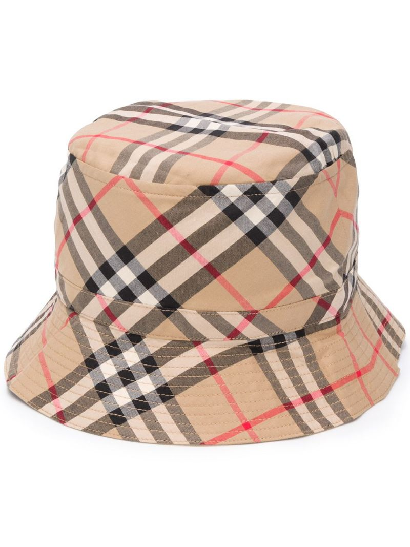 BURBERRY CHILDREN: Vintage check cotton bucket hat Color Brown_2