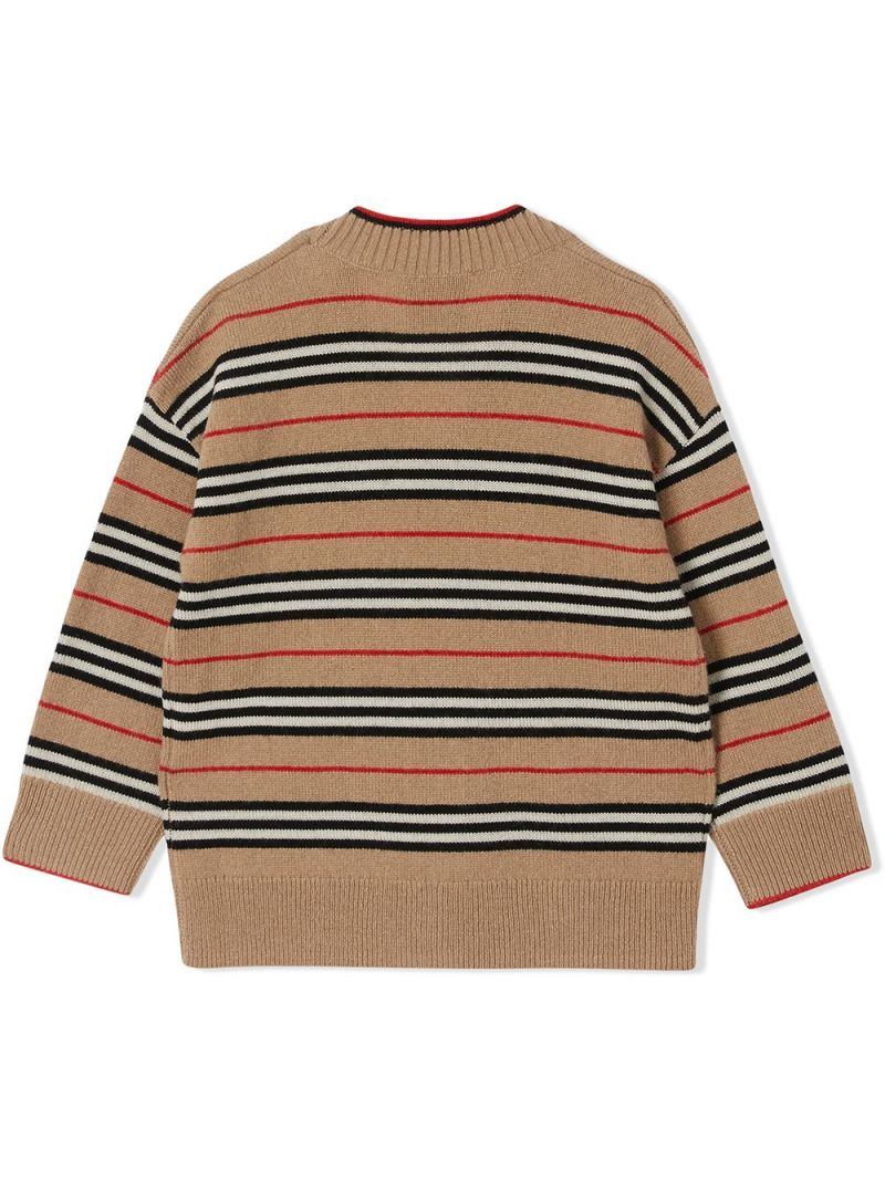 BURBERRY CHILDREN: Icon Stripe wool cashmere blend cardigan Color Brown_2