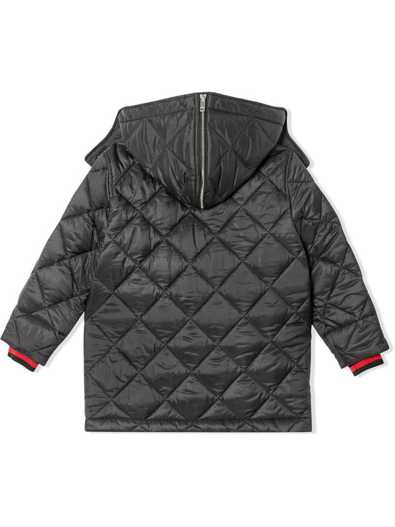 BURBERRY CHILDREN: logo-detailed nylon padded jacket Color Black_2