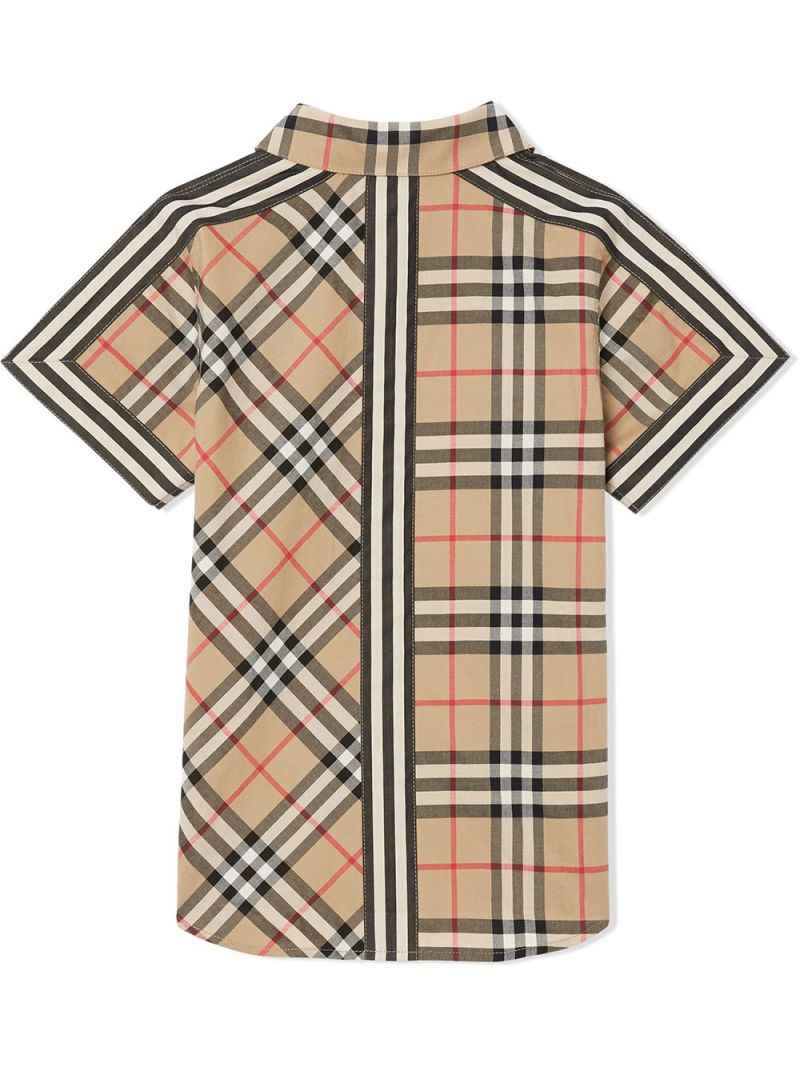 BURBERRY CHILDREN: camicia a maniche corte in cotone patchwork Colore Marrone_2