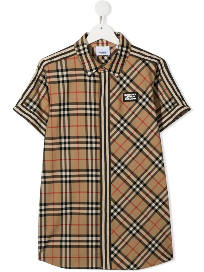 BURBERRY CHILDREN: camicia a maniche corte in cotone patchwork Colore Marrone_1
