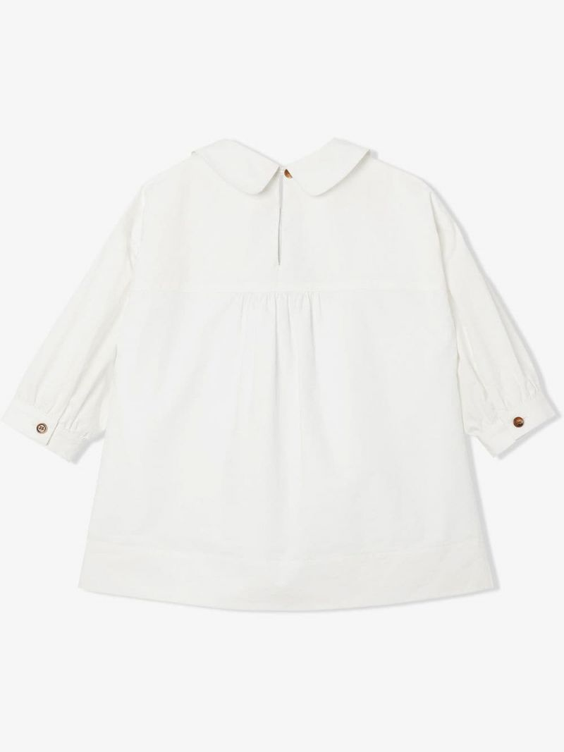 BURBERRY CHILDREN: Icon Stripe-detailed stretch cotton blouse Color White_2