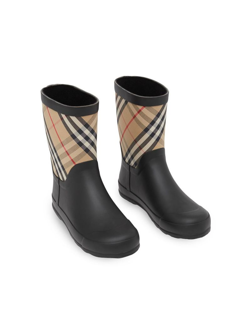 BURBERRY CHILDREN: rubber and fabric rain boots Color Neutral_2