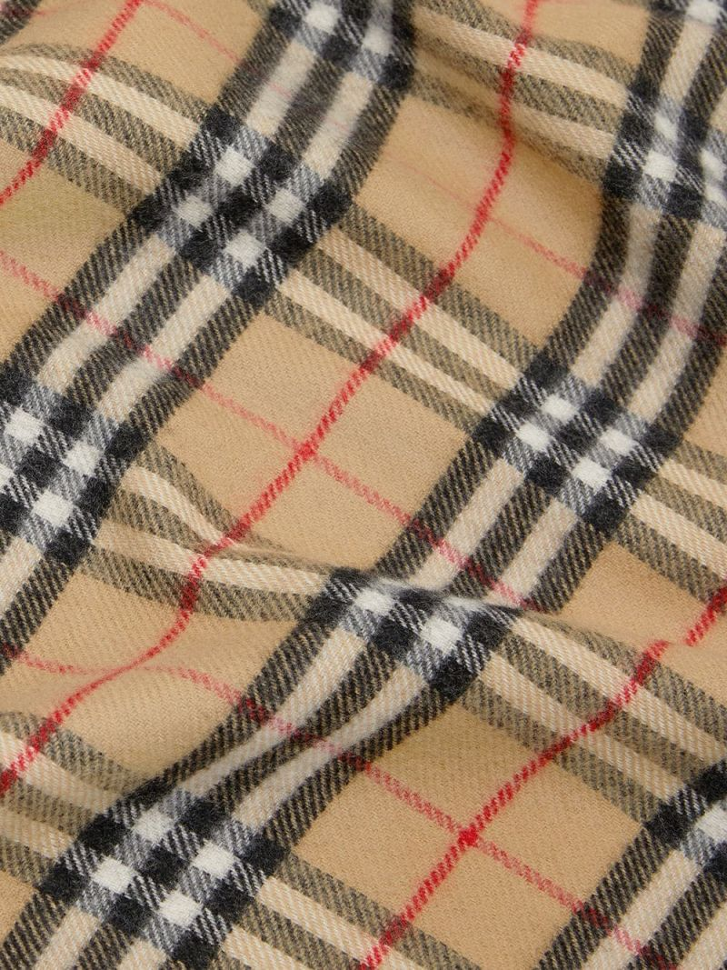 BURBERRY CHILDREN: Vintage check merino wool blanket Color Brown_2