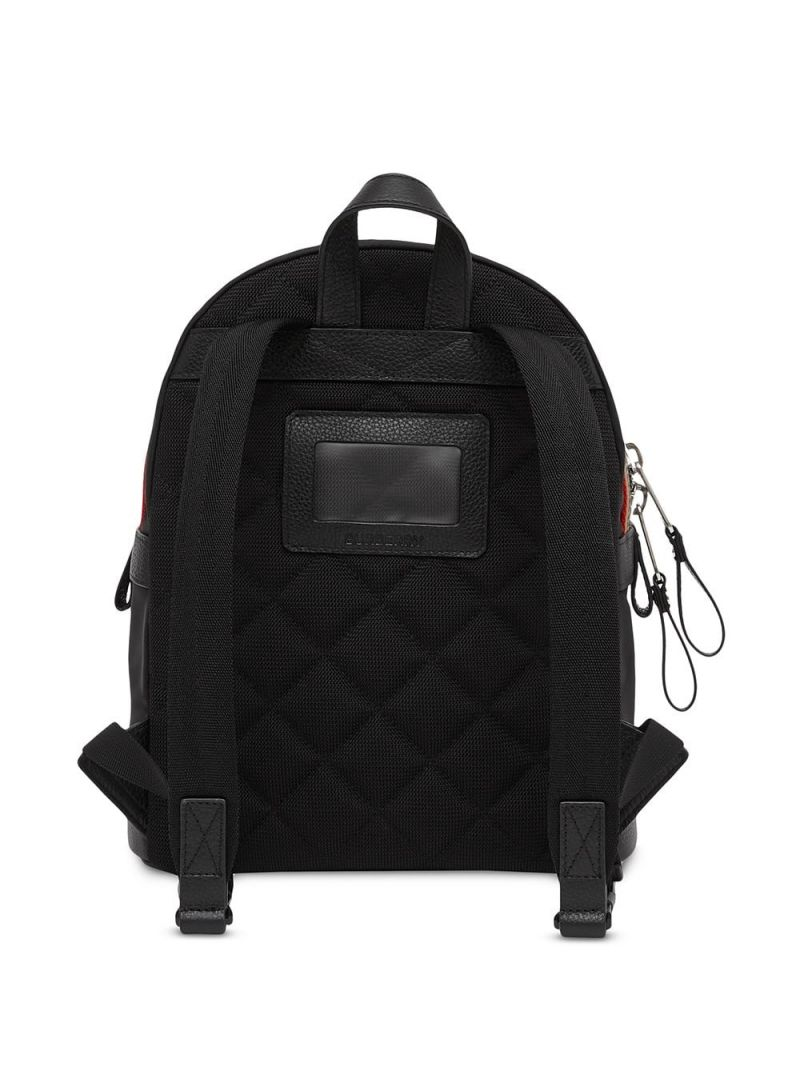BURBERRY CHILDREN: logo patch ECONYL® backpack Color Black_2