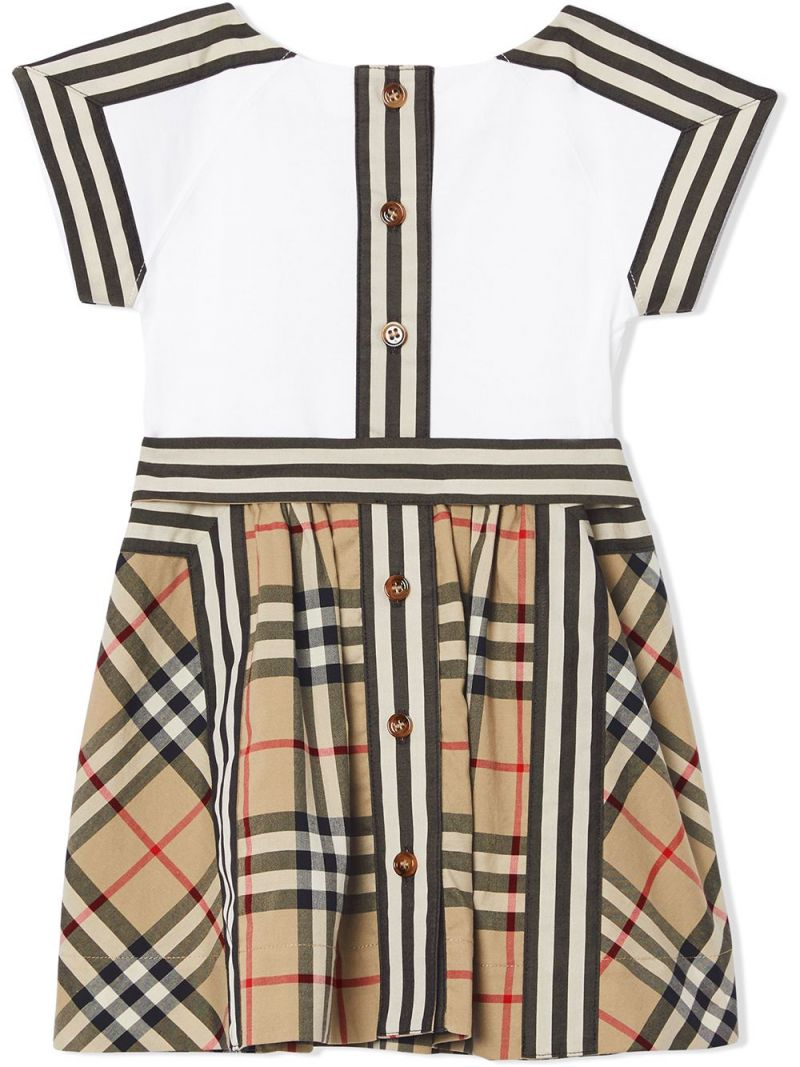 BURBERRY CHILDREN: Vintage check-detailed cotton dress Color Brown_2