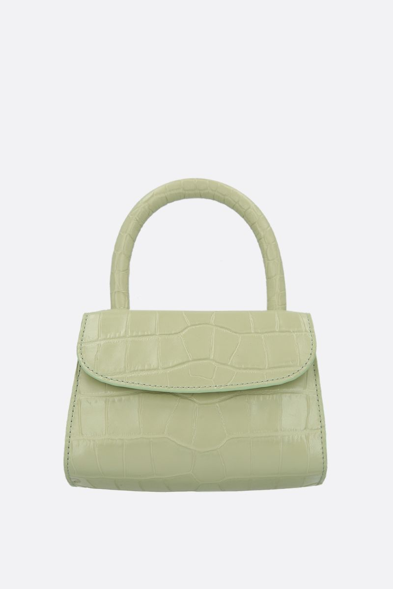 BY FAR: crocodile embossed leather mini handbag Color Green_1