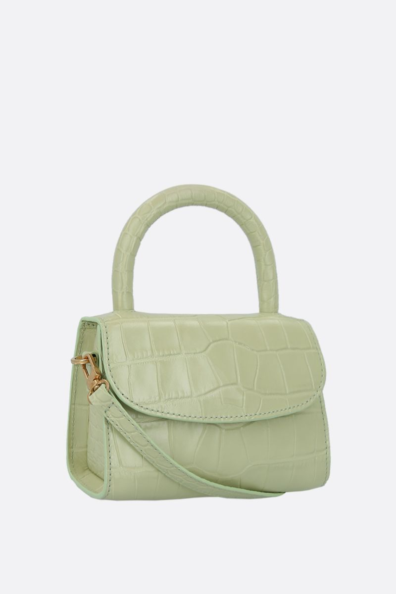 BY FAR: crocodile embossed leather mini handbag Color Green_2