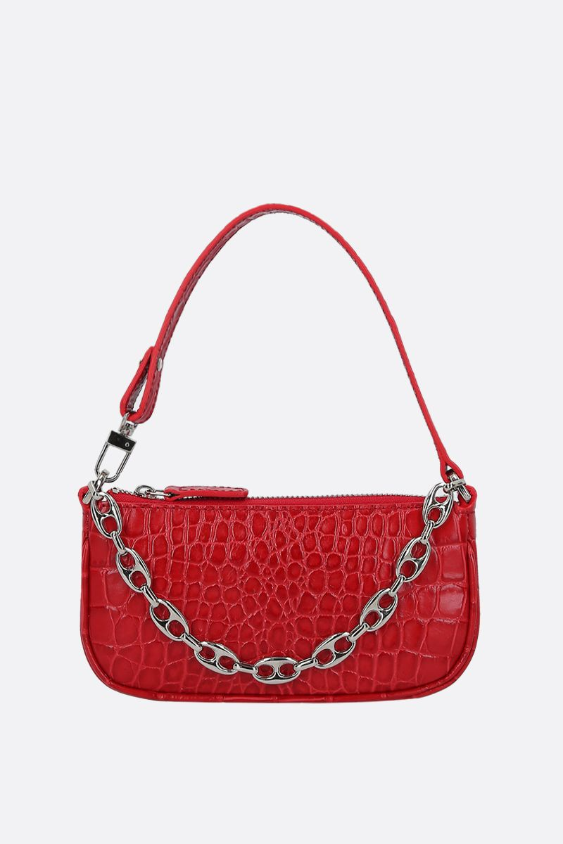 BY FAR: Rachel mini crocodile embossed leather handbag Color Red_1